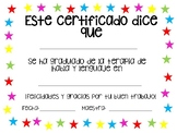 Speech Therapy Graduation Certificate - Spanish
