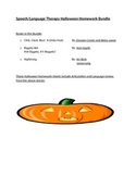 Speech Language Halloween Homework Bundle