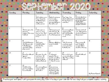 Speech Language Homework Calendars