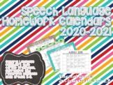 Speech Language Homework Calendars 2018-2019