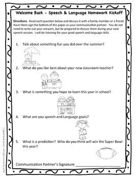 Speech Language Homework ~ Kick it off & Wrap it up {FREEBIE}