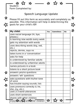 Speech Language IEP input from Parents
