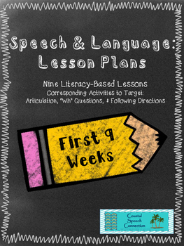 Speech & Language Lesson Plans: Nine Literacy Based Units