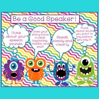 Speech & Language Monster Speech Strategy Posters-Freebie
