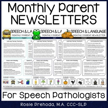 Speech  Language Monthly Newsletter For Parents By Rosie Prehoda