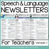 Speech & Language Monthly Teacher Newsletter