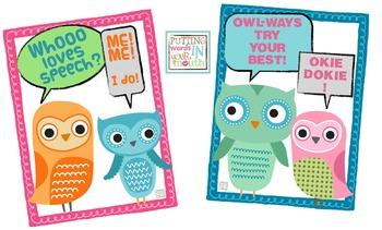 Speech & Language OWLS! (bulletin board & signs}