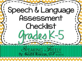 Speech & Language Assessment Checklist for Grades K-5