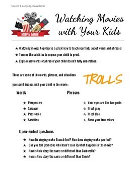 Speech/Language Parent Newsletter - Talking to your kids about movies - Trolls