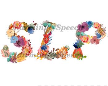 Speech Language Pathologist Flower watercolor initials SLP Gift digital print