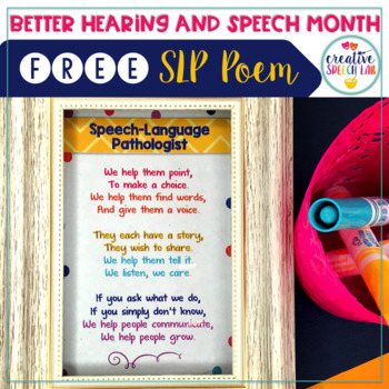 Speech-Language Pathologist Inspirational Poem Freebie (fi