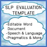 Speech Language Pathology Evaluation Template Editable