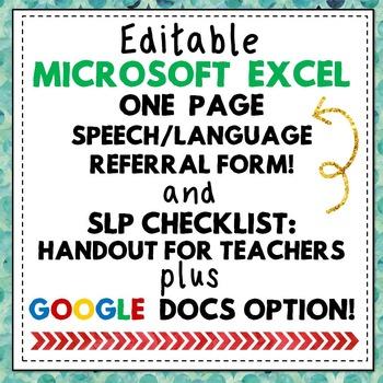Speech Language Pathology Referral Form + IEP Goal Info Ch