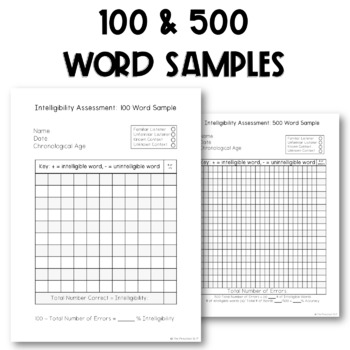 Speech Language Pathology: Intelligibility Rating Form, Progress Monitoring