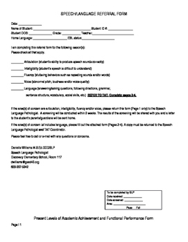 Speech/Language Referral Form