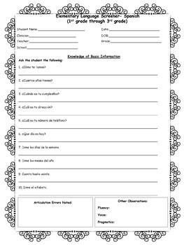 Speech & Language Screener- Spanish (Grades 1st- 3rd)