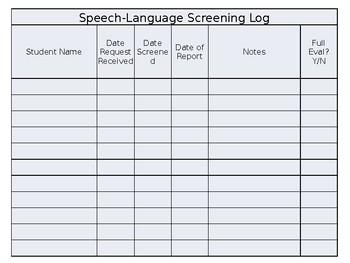Speech Language Screening and Eval Logs