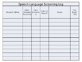 Speech Language Screening and Eval Logs