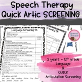 Speech Language Screenings {Comprehensive Assessment Elementary - High School}