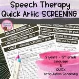 Speech Language Screenings {Comprehensive Assessment Elementary - High School}