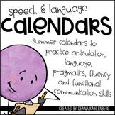 Speech & Language Summer Calendars