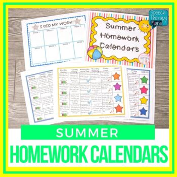 Summer Articulation & Language Homework Calendars