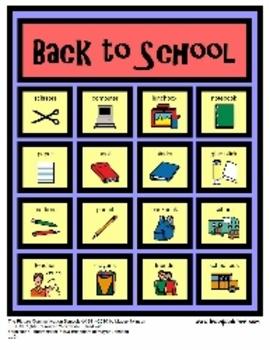 Speech Language Therapy Activity Set: Back to School Bingo and Vocabulary Set