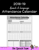 Speech/Language Therapy Attendance Calendar