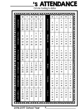 Speech and Language Therapy Attendance Calendar {2016-2017)
