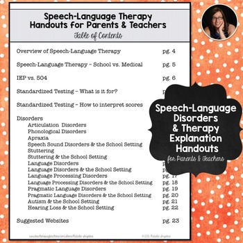 Speech-Language Therapy Explanation Handouts for Parents and Teachers