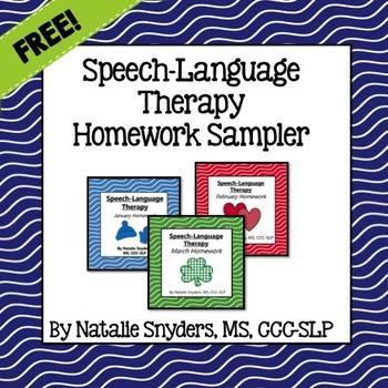 Speech Language Therapy Homework Sampler FREEBIE