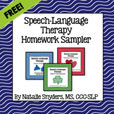 Speech Language Therapy Homework Sampler FREEBIE