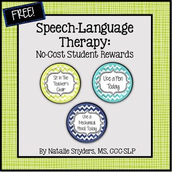 Speech Language Therapy - No Cost Classroom Rewards - Freebie