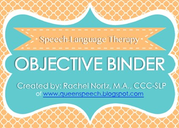 Speech-Language Therapy Objective Binder {ORANGE VERSION}