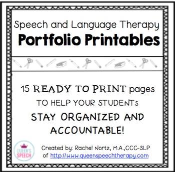Speech-Language Therapy Printable Portfolio {Black and White}