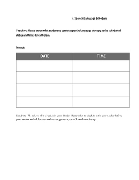 Speech Language Therapy Schedule and Pass for Students