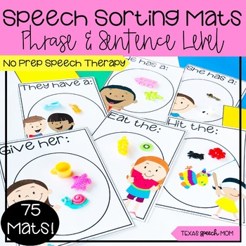 Speech Language Therapy Sorting Mats: Phrase and Sentence Level Mini Objects