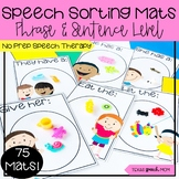 Speech Therapy Sorting Mats: Mini Objects phrases (articulation and language)