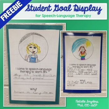 Speech Language Therapy Student Goal Display FREEBIE