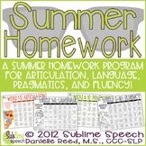 Speech & Language Therapy Summer Homework Program
