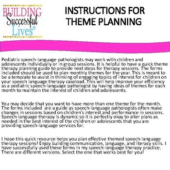 Speech Language Therapy Theme Planning