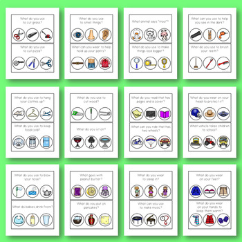 Speech Language Therapy: WH- Questions WHAT? Task Cards