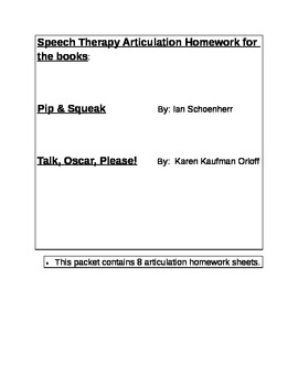 Speech Language Therepy Homework Bundle