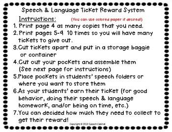 Speech & Language Ticket Reward System