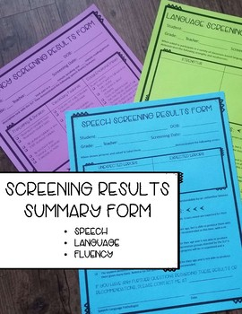 Speech, Language, and Speech Fluency Screening Results Forms