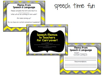 Speech Memos for teachers to help with carryover FREEBIE