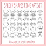 Speech Mouths - Sounds Phonemes Line Art Clip Art Commercial Uses