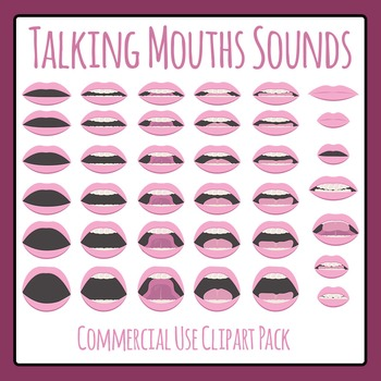 Speech Mouths - Sounds Talking Phonemes Clip Art Set Commercial Use