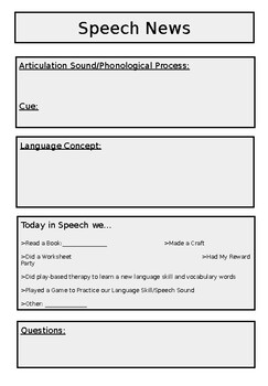 Speech News Editable Sheet