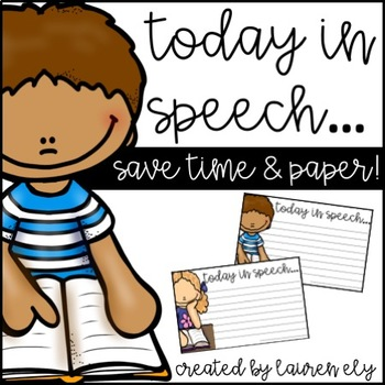 Speech Therapy Note to Parents